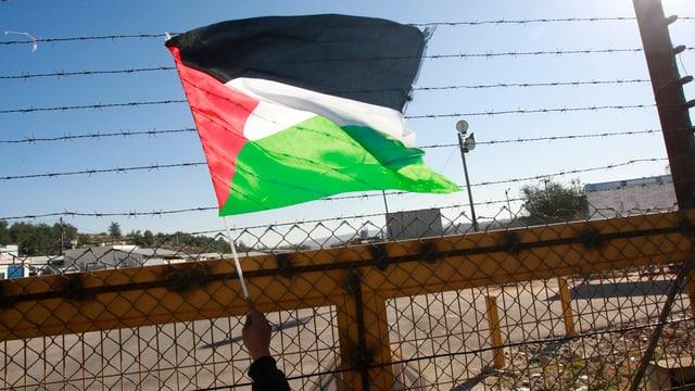 Ein Mann schwenkt eine palästinensische Fahne