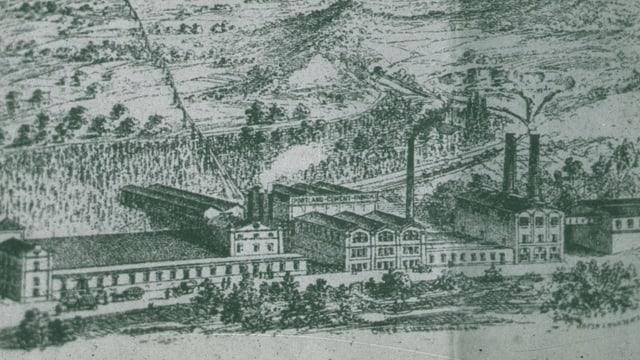 Eine Zeichnung einer Fabrik