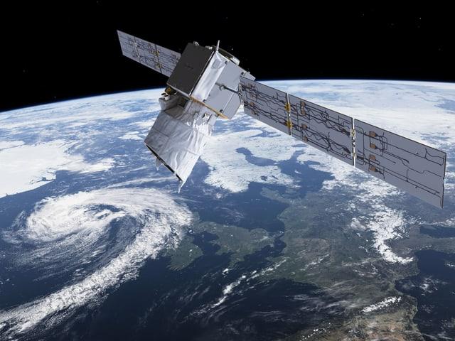 Satellit mit Blick auf eine Wolkenwirbel