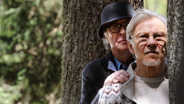 Dirigent Fred Ballinger (Michael Caine) und sein Filmemacher-Freund Mick (Harvey Keitel) blicken hintereinander hinter einem Baum hervor.