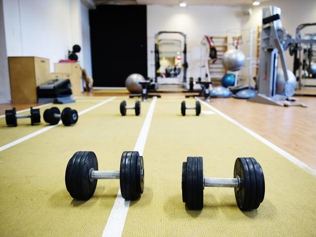 Ein Symbolbild aus einem Gym, zwei Hanteln liegen am Boden.