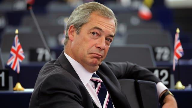 Der EU-Parlamentarier Nigel Farage bei einer Debatte in Strassburg