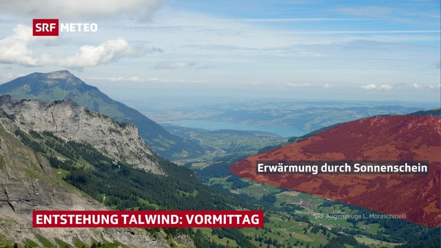Aussicht von Berg ins Tal und ins Flachland. Der gegenüberliegende Hang ist rötlich eingefärbt.