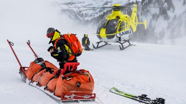 Ein Unfall im Skigebiet.