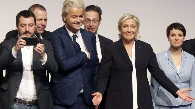Matteo Salvini, Geert Wilders, Marine Le Pen, Frauke Petry.