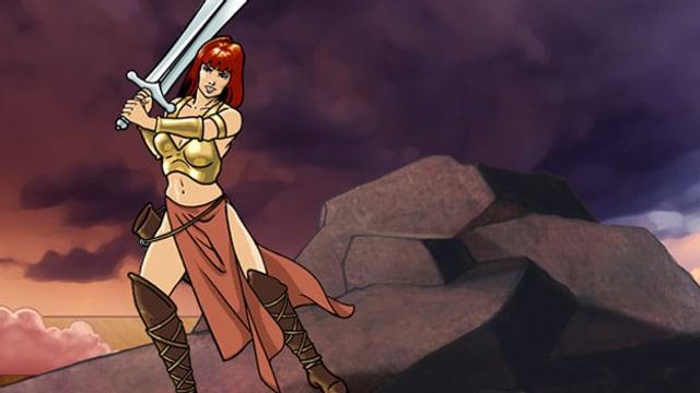 Brünnhilde in Rüstung, mit Schwert