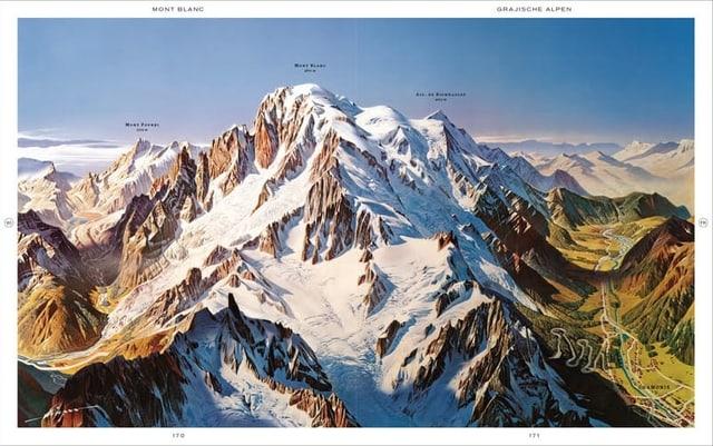 Eine Karte vom Mont Blanc.