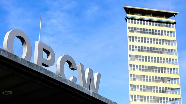 Fassade des OPCW-Gebäudes in Den Haag.