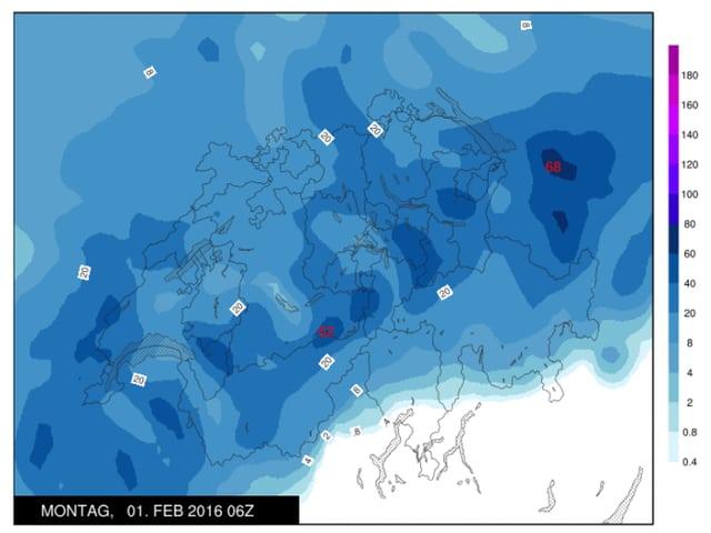 Schweizer-Karte: Blau eingefärbt die Niederschlagsgebiete.