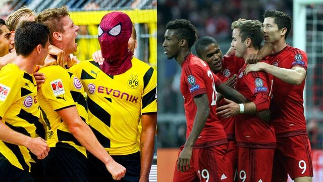 Links jubelnde Spieler von Borussia Dortmund, recht die Bayern.