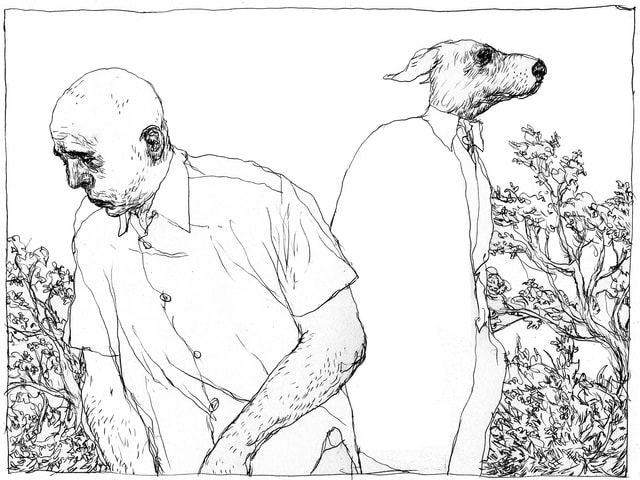 Zeichnung Mann und Hund