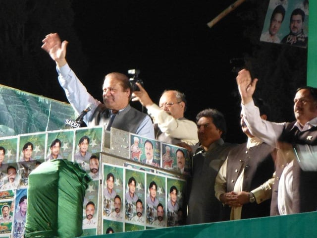 Nawaz Sharif am Rednerpult.