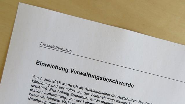 Die Medienmitteilung des freigestellten Asyl-Leiters Adrian Portmann.