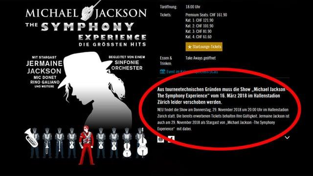Printscreen Internetseite mit Hinweis zur Konzertverschiebung.