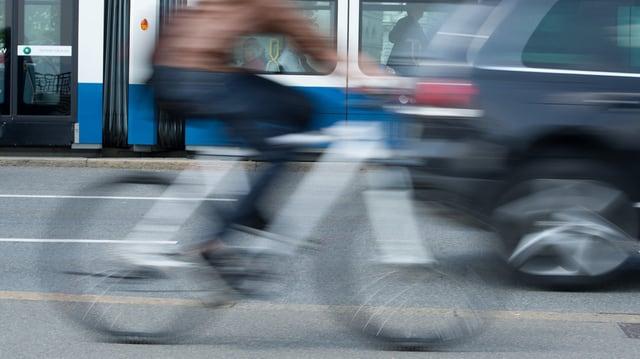 Velofahrer in der Stadt Zürich