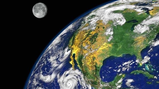 Die Erde und der Mond vom Weltall aus.