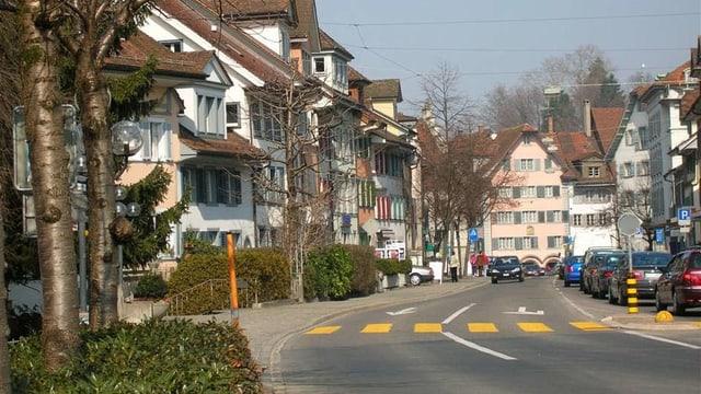 Eine Strasse mit Häusern am Strassenrand.