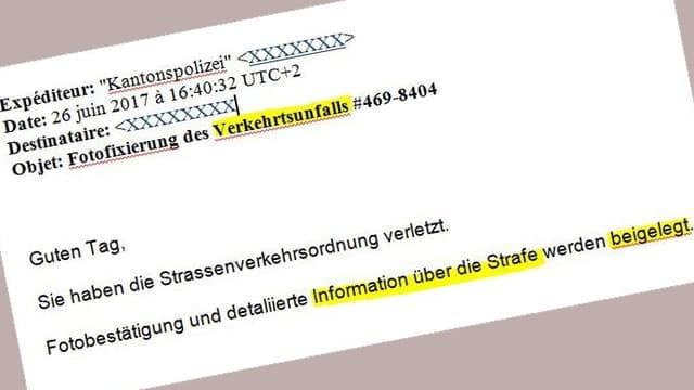 Printscreen eines Fake-Mails («Fotofixierung des Verkehrtsunfalls...»)
