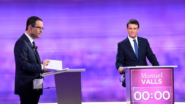 Benôit Hamon (l.) und Manuel Valls am zweiten TV-Duell.
