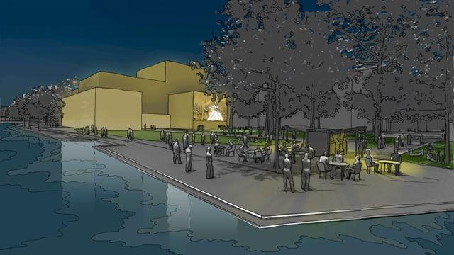 Visualisierung der Salle Modulable in der Nacht.
