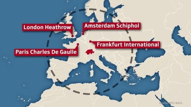 Europa-Karte mit einem Radius von 1500 Kilometern.