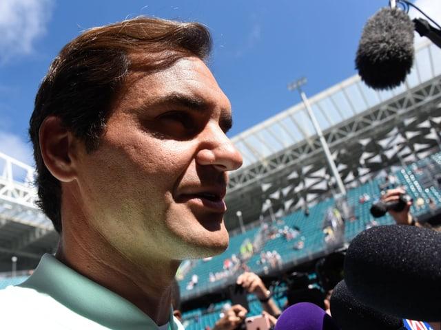 Roger Federer im neuen Stadion von Miami
