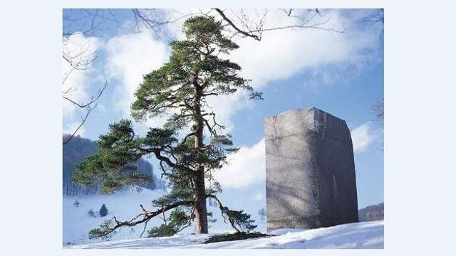 Eine blockartige, grosse Felsskulptur steht neben einem Nadelbaum in Winterlandschaft.