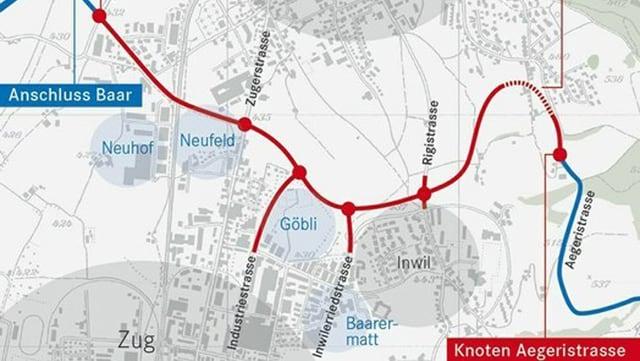 Plan des Projekts Tangente Zug/Baar