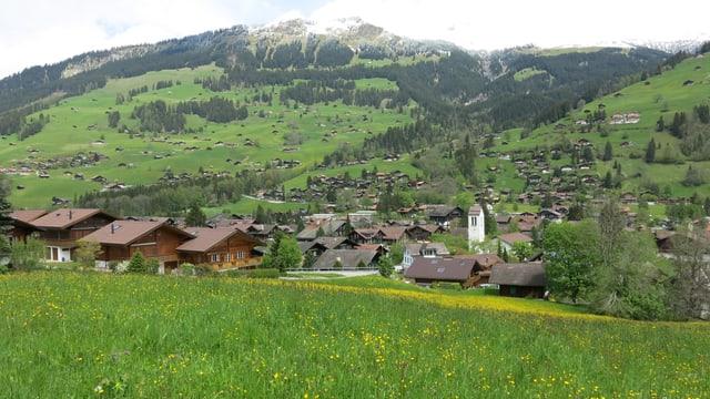 Blick auf das Dorf Lenk im Berner Oberland.
