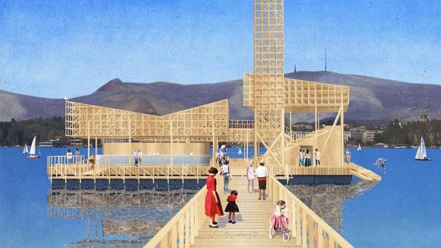 Eine schwimmende Insel mit Openair-Kino, Modellbild.