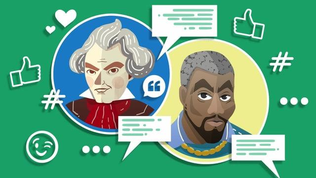 Illustration von Beethoven und Kanye West