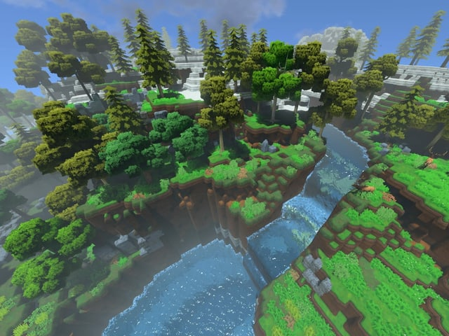 Spielwelt mit grünem Wald und einem Wasserfall.