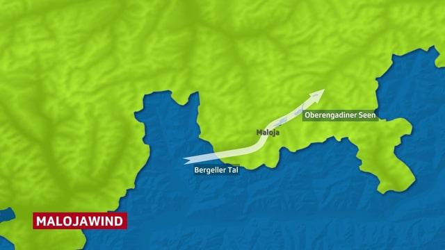 Oberengadin mit Windpfeil für malojawind