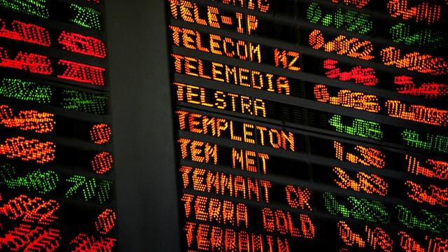 Anzeige mit sinkenden Börsenkursen