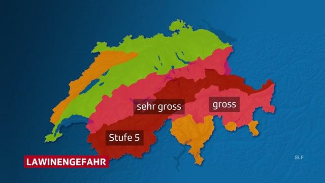 Einteilung der Schweiz in die Gefahrenstufen