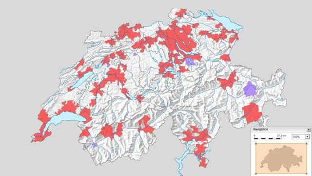 Die Karte der Agglomerationen aus dem statistischen Atlas der Schweiz.