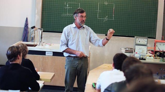Ein Lehrer unterrichtet eine Klasse.