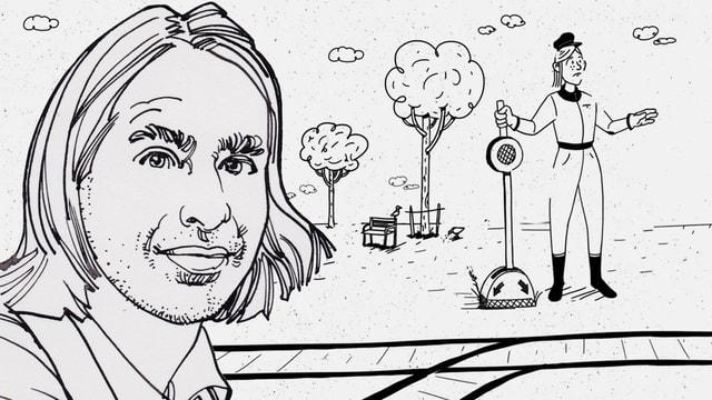 Zeichnung: Im Vordergrund der grosse Kopf eines Mannes. Hinter ihm und einem Gleis wartet ein Weichensteller auf den nächsten Zug.