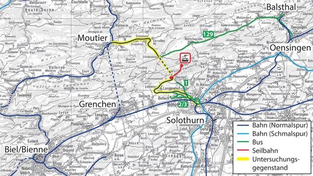 Bahnstrecken im Umfeld der Solothurn-Moutier-Bahn.