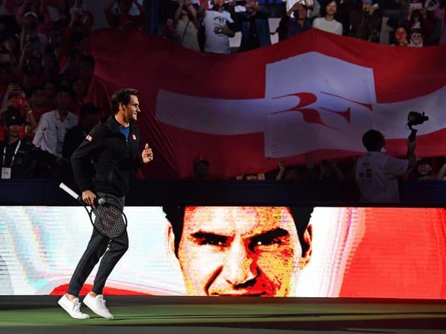 Roger Federer wird in Schanghai empfangen.