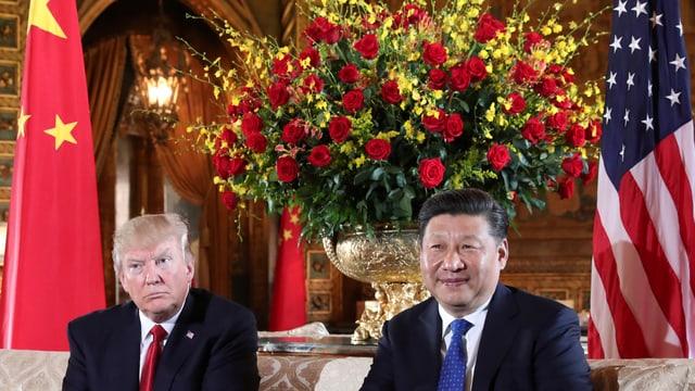 Trump und Xi vor einem grossen Blumenstrauss und den USA- und Chinaflaggen.