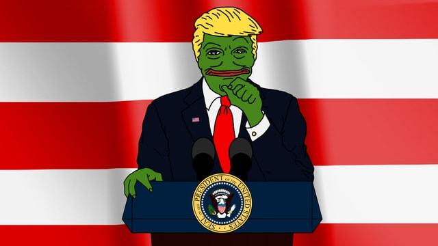 Donald Trump als Internet-Meme Pepe the Frog