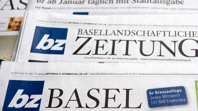 Zeitungsausgaben der bz Basel und der Basellandschaftlichen Zeitung