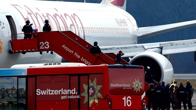 Eine Maschine der der Ethiopian Airlines auf dem Flughafen Genf-Cointrin.