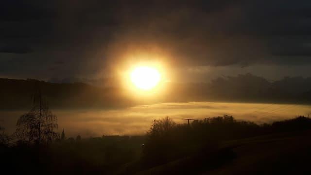 Die Sonne steht den ganzen Tag tief über dem Horizont, hier über einem Nebelmeer in Reitnau.