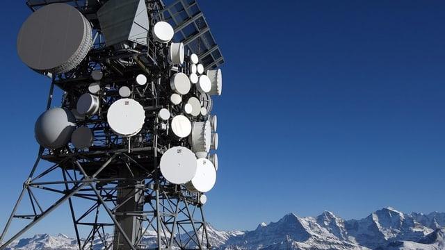 vista sin ina pitga cun pliras antennas parabolas