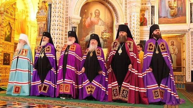 Russische Männer mit Bärten