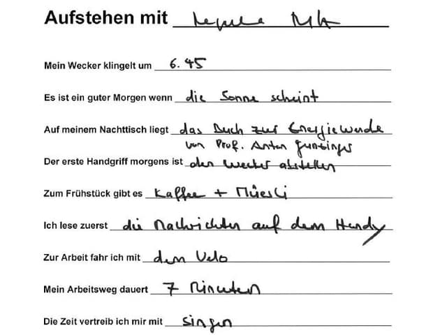 Handschriftlich ausgefüllter Fragebogen.