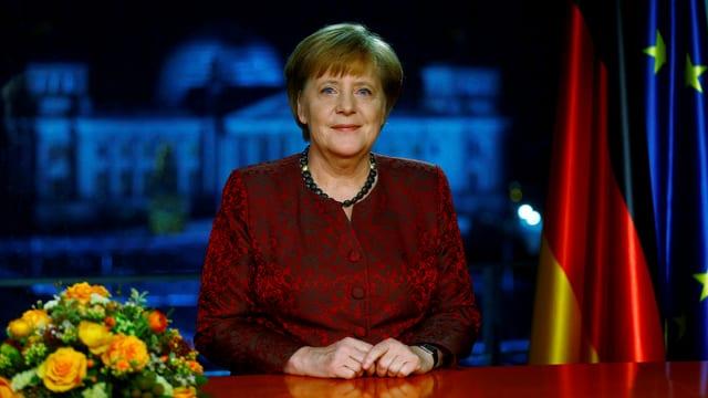 Ein Bild vom vorproduzierten Video von Merkels Rede.