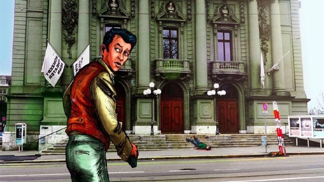 Eine gezeichnete Figur mit einer Waffe in der Hand steht vor einem grossen barocken Gebäude.